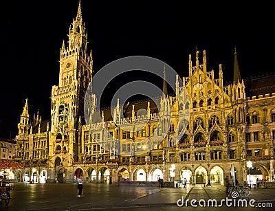 Munich Marienplatz at night.