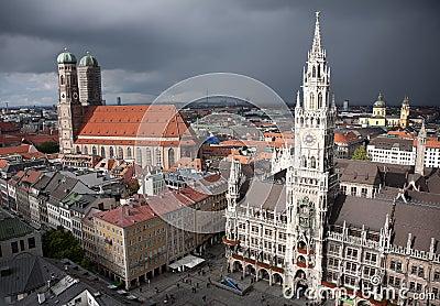 Munich Marienplatz at storm