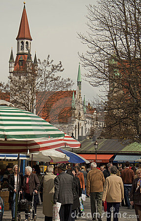 Munich, Viktualien markt on Easter time Editorial Photo