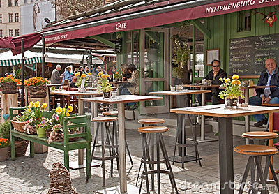 Munich, Viktualien markt, open air cafe Editorial Stock Photo