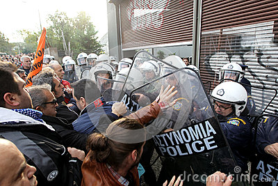 Municipal workers clash with riot police Editorial Photo