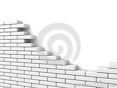 Mur de briques cass sur le fond blanc illustration stock - Mur blanc casse ...