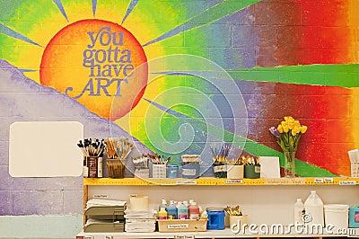 Mural in art classroom