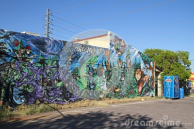 USA, Arizona/Guadalupe: Mural - The Wizard of OZ Editorial Photography