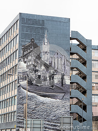 Mural on a building in George Street Glasgow Editorial Photo