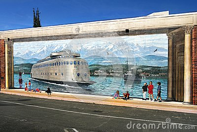 Mural Painting, Kalakala Ferry, Port Angeles