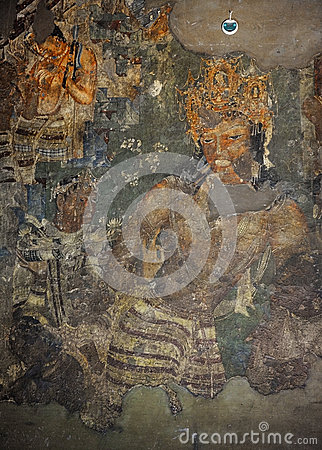 Mural painting of vajrapani in ajanta cave 1 stock photo for Ajanta mural painting