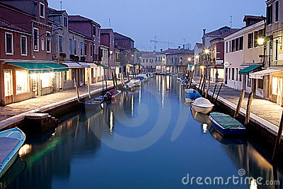 Murano island at night,