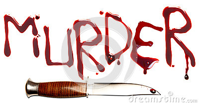 Bloody letters and sharp dagger as a symbol of murder and crime.