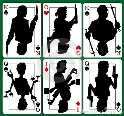 Murder Mystery Playing Cards, King, Qeen, Jack, Hearts, Diamonds, Spades, Clubs : Dreamstime