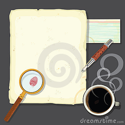 Free Murder Mystery Detectives Desk With Steaming Coffe Stock Photography - 23191002
