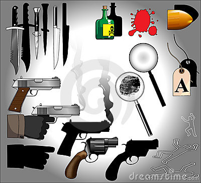 Murder mystery objects including guns, knives, forensics, magnifying glasses, bullets, blood, finger prints : Dreamstime