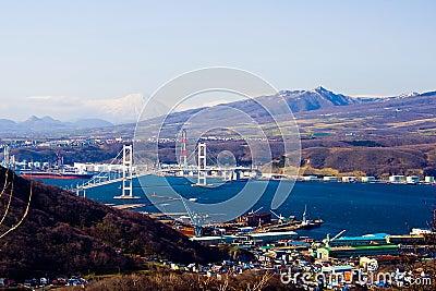 Muroran Harbor from Mt Sokuryo, Hokkaido, Japan