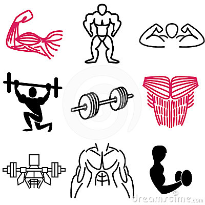 Muscle and gym icons