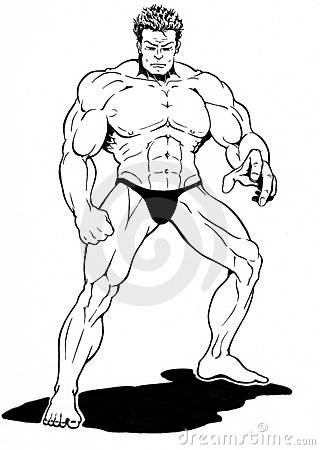 Muscle man drawing