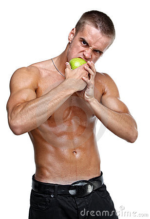 Muscle sexy wet naked young man eating apple