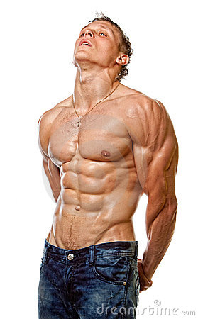 Muscle sexy wet naked young man posing
