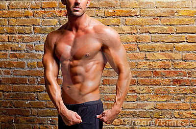 Muscle shaped man posing on gym brick wall