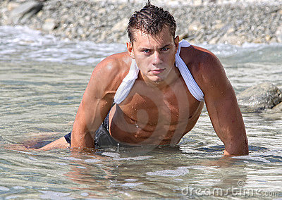Muscle wet sexy naked man