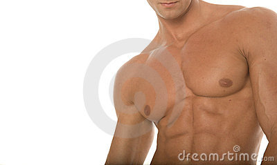 Muscular athletic body builder chest