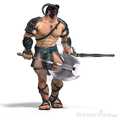Free Muscular Barbarian Fight With Sword And Axe Stock Images - 9201054