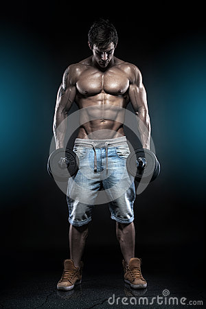 Free Muscular Bodybuilder Guy Doing Exercises With Dumbbells Over Bla Royalty Free Stock Photos - 38154208