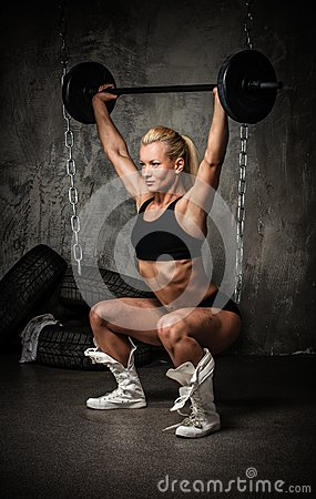 Muscular bodybuilder woman