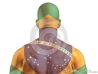 Muscular Brazil banner man