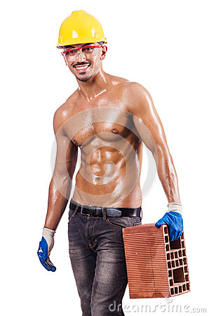 Muscular builder with bricks