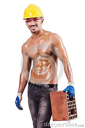 Muscular builder with bricks
