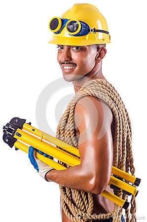 Muscular builder with tools  on white