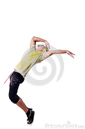 Muscular dancer  on white