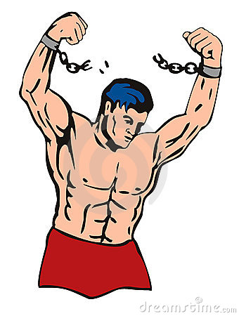 Muscular dude breaking free