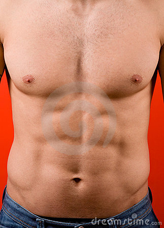Muscular male torso isolated on red background