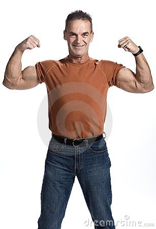 Muscular man of 50s