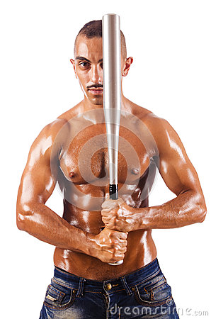 Muscular man with baseball bat