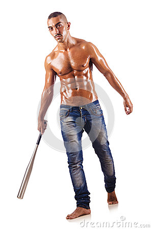 Muscular man with bat