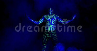 Muscular Man With Body Art Is Raising His Arms And Screaming Uv Light 4k Stock Video Video Of Bright Dancer 171418379