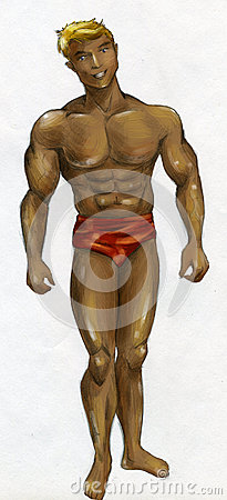 Muscular man with bronzed skin