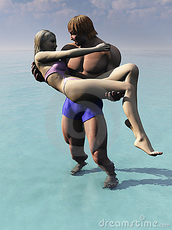 Muscular man carries woman from water