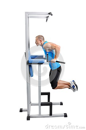 Muscular man exercise on a white background