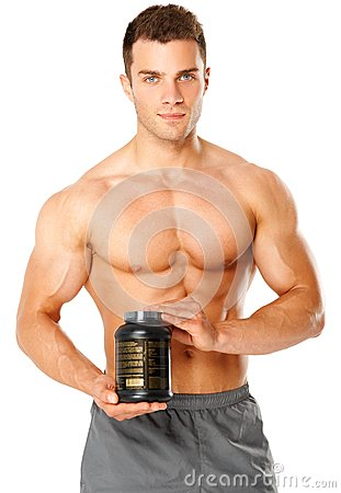 Muscular man holding container