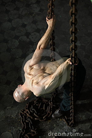 Free Muscular Man In Chains Stock Photography - 11465462