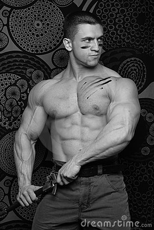 Muscular man with knife