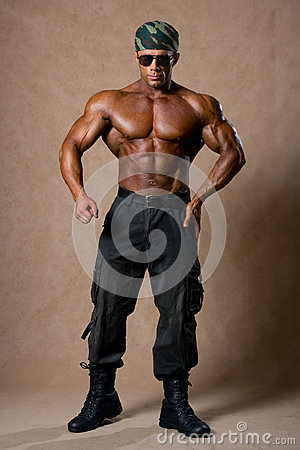 Muscular Young Sexy Naked Dirty Soldiers Stock Photo