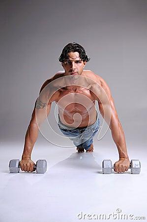 Muscular  Man Push ups