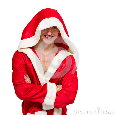 Muscular man wearing a Santa Claus clothes