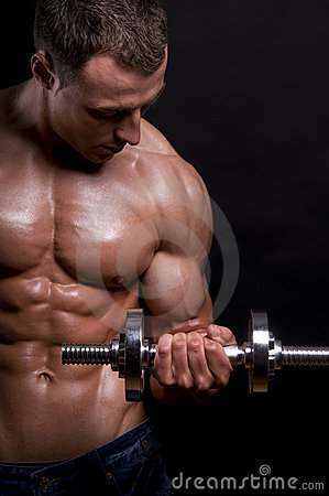 Free Muscular Man With Dumbbells. Royalty Free Stock Photo - 15238715