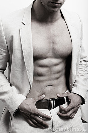 Free Muscular Man With Sexy Abs And Suit Stock Photography - 23431252