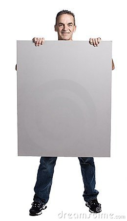 Free Muscular Man With White Panel Royalty Free Stock Images - 2404179
